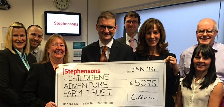 Stephensons celebrates year of fundraising with Childrens Adventure Farm Trust